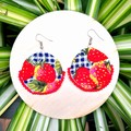 Round Strawberry Dangle Earrings