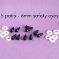 6mm black safety eyes, crochet, sewing, doll making, doll eyes