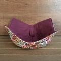 Microwave Bowl Holder - Floral Aqua/Dark Red