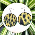 Round Leopard Print Dangle Earrings
