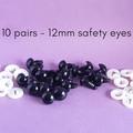 12mm safety eyes, black bear doll making safety eyes, crochet, amigurumi, sewing