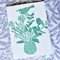 Wildflower posie card / Blank greeting card / Handprinted Linocut / Art card