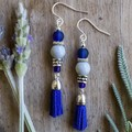 Elegant Blue Tassel Dangle Earrings