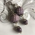 Glass Drop earring mauve Silver tone