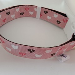 Pink heart argyle print adjustable dog collars medium / large