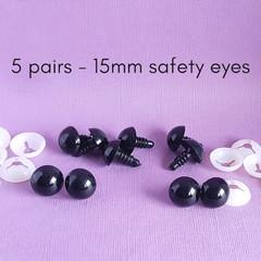 15mm black safety eyes, bear, doll making, crochet amigurumi, sewing