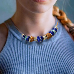 Cobalt blue, teal and terracotta necklace (#N4)