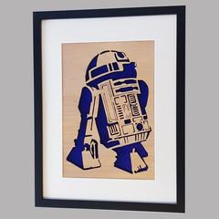 R2D2 - Star Wars - Framed Wooden Hanging Artwork