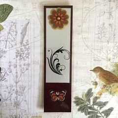 Brown Bookmark with Flower, Plant Flourish and Butterfly