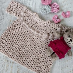 Natural/Beige Hand Crocheted Baby Braid Tunic Dress  6-12 months