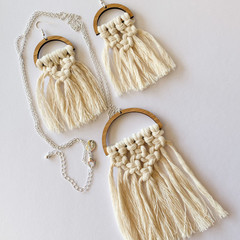 Macrame earring and necklace set natural recycled cord