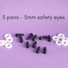 5mm safety eyes for amigurumi, sewing toys bears doll making