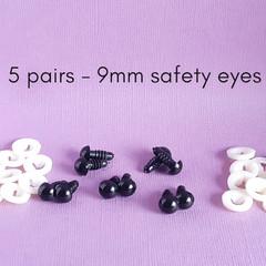 9mm safety eyes,  black doll bear making eyes, crochet amigurumi, sewing