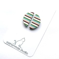 Multi Stripe stud polymer clay earrings by Sasha and Max Studio