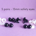 15mm black safety eyes, bear, doll making, crochet amigurumi, sewing
