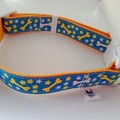 Light blue and yellow dog bone print adjustable dog collars medium / large