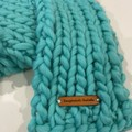 Mint super soft straight winter scarf hand knitted wool