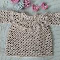 Natural/Beige Hand Crocheted Baby Braid Tunic Dress  6-12 months