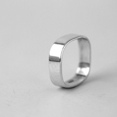 6mm rectangular Sterling silver handmade square ring