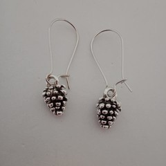 Small silver pine cone charm earrings