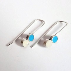 Tiny delicate urban Sterling Silver and Polymer clay earrings