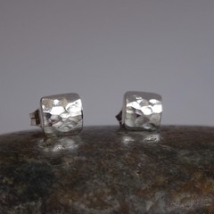 "Sweet, Dainty Sterling Silver ""puffy"" square studs."