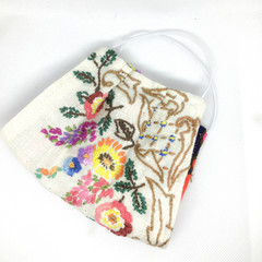 Fabric Face mask, with vintage fabric and embroidery