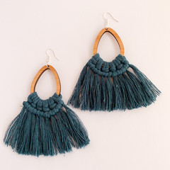Macrame large statement earrings peacock blue