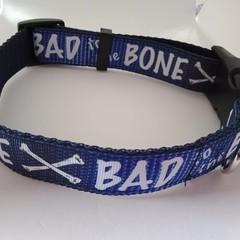 Blue bad to the bone adjustable dog collars medium / large