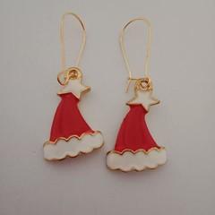 Gold Santa hat Christmas earrings