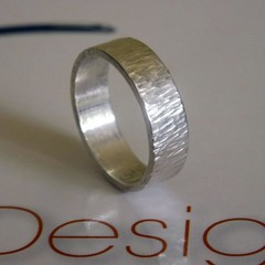 Handmade ring- patterned organic ring- His/Hers Classic ring-5mm sterling silver
