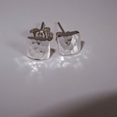 """Sweet, Dainty Sterling Silver """"puffy"""" square studs."""