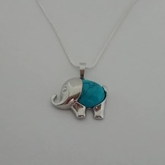 Silver elephant charm necklace with turquoise stone