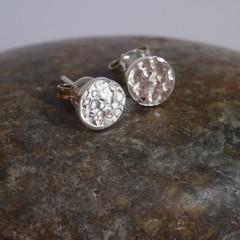 Handmade 6mm hammered Sterling silver stud earrings.