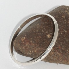 Handmade Sterling silver, Organic 6mm wide solid heavy Bangle