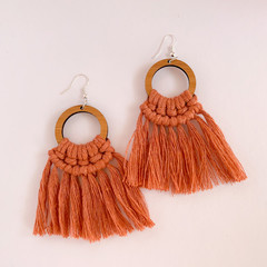 Macrame large statement earrings terracotta