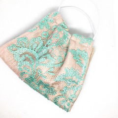 Fabric Face mask, with silk and French lace