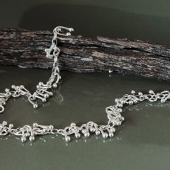 Solid Sterling Silver and Fine Silver Necklace, Fluid Necklace, Kinetic jeweller