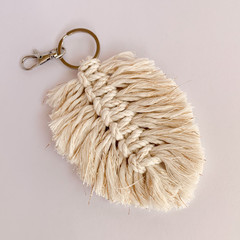 Large macrame feather keychain golden natural