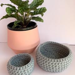 Set of 2 crochet nesting baskets raw denim