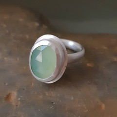 Beautiful Prehnite and Sterling Silver Ring size AU O 1/2 ( US 7 1/4)