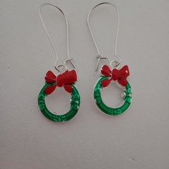 Silver green and red Christmas wreath charm earrings