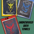 Embroidered Bath Towels featuring Poke teams $20 each