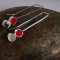 Tiny delicate urban Sterling Silver and red Polymer clay earrings