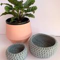 Set of 2 raw denim crochet nesting baskets