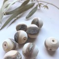 Toysofwood- Extra large natural raw wooden bead set of 8