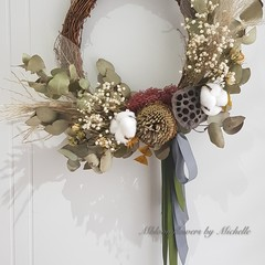 Dried flower wreath, home deco, door wreath,gift for friends,gift for female