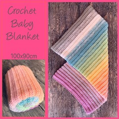 Rainbow pastel crochet baby blanket, Newborn or baby shower gift, Hand made