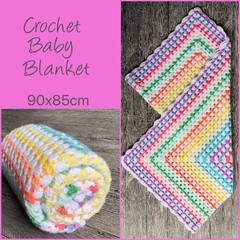 Rainbow squares crochet baby blanket, Newborn or baby shower gift, Hand made