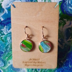 Metallic blue, green and red rose gold drop earrings